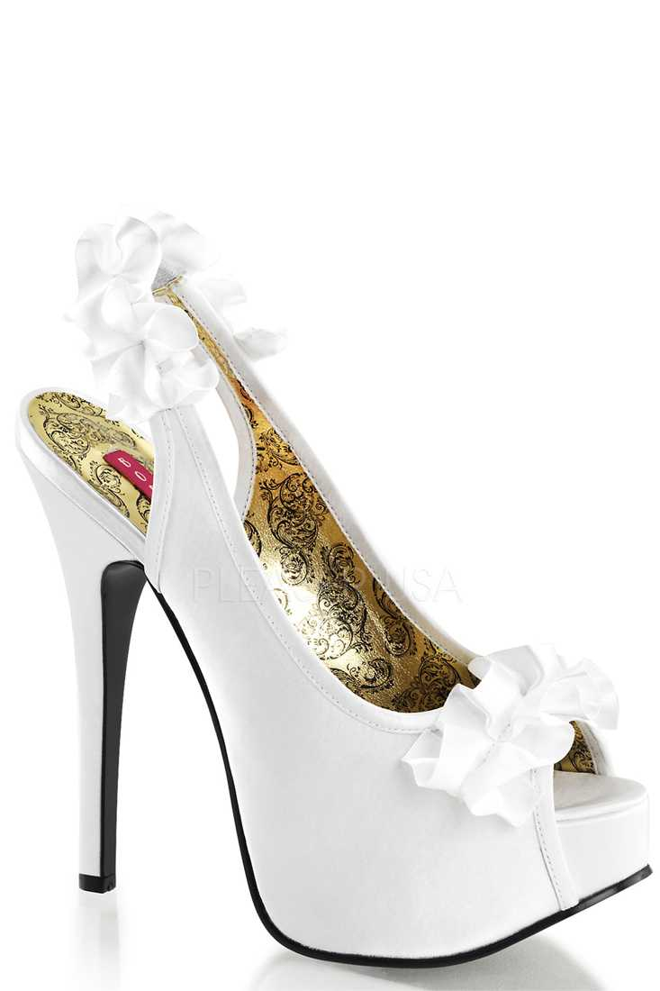 White Ruffle Detailed Slingback Platform High Heels Satin