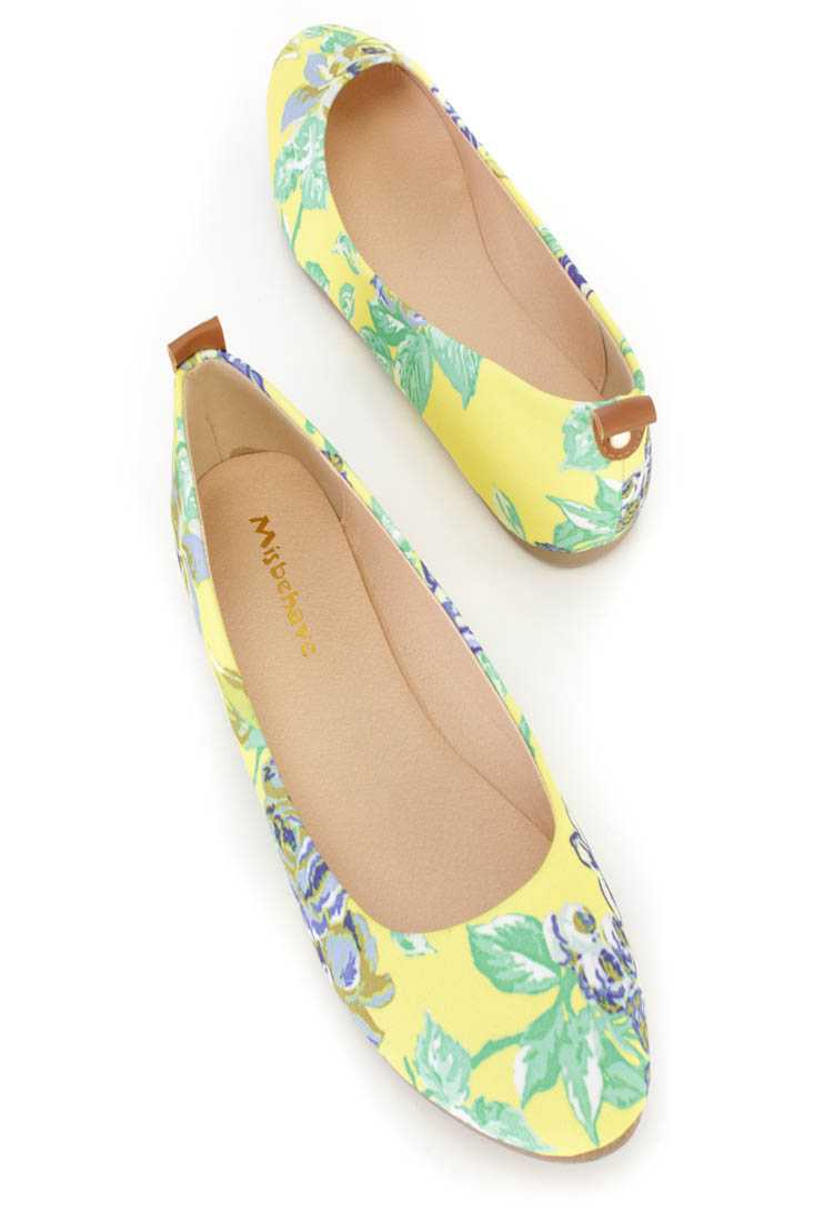 Yellow Floral Graphic Pattern Ballet Flats Canvas
