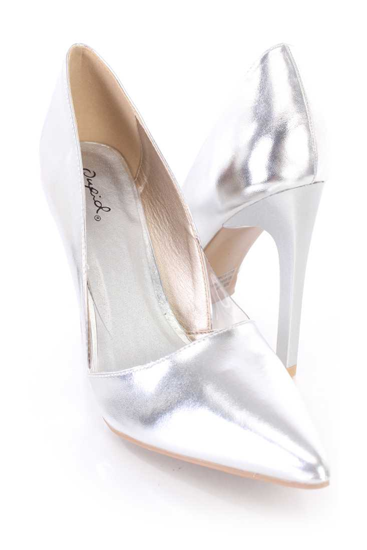 Silver Clear Single Sole Pump High Heels Faux Leather