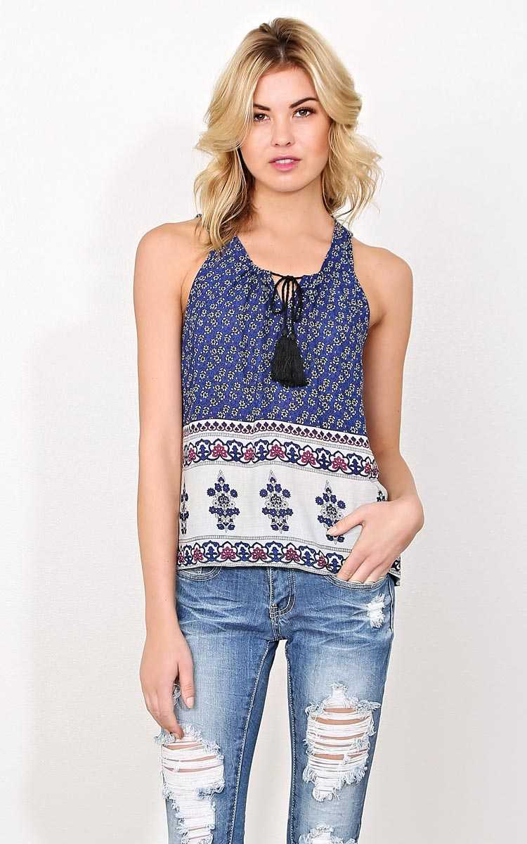 Paloma Woven Tassle Tank - MED - Blue Combo in Size Medium by Styles For Less