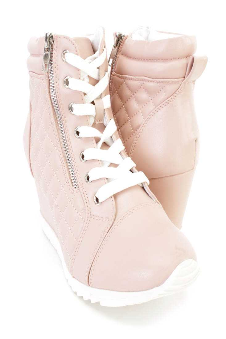 Light Coral Quilted Sneaker Wedges Faux Leather