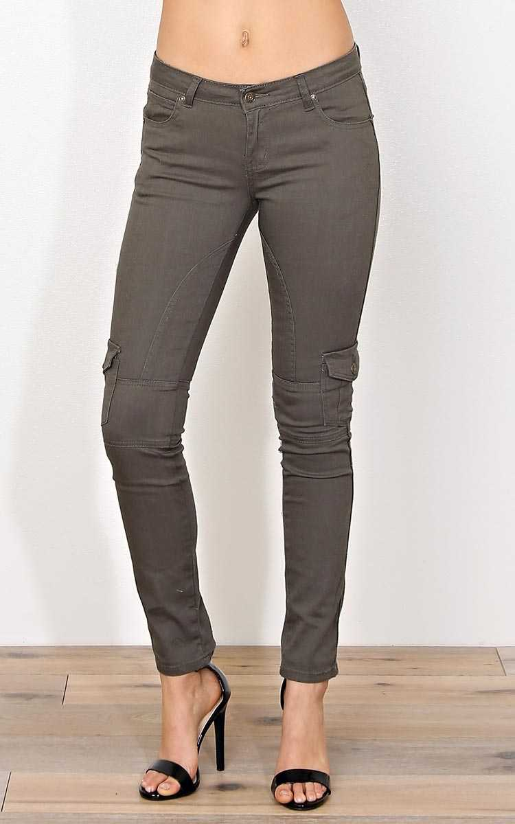 Selene Denim Skinny Pants - Olive/Drab in Size 9 by Styles For Less