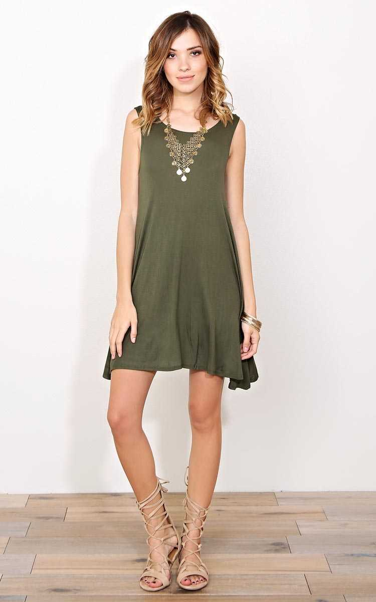 Olive Movin On Knit Shift Dress - - Olive/Drab in Size by Styles For Less
