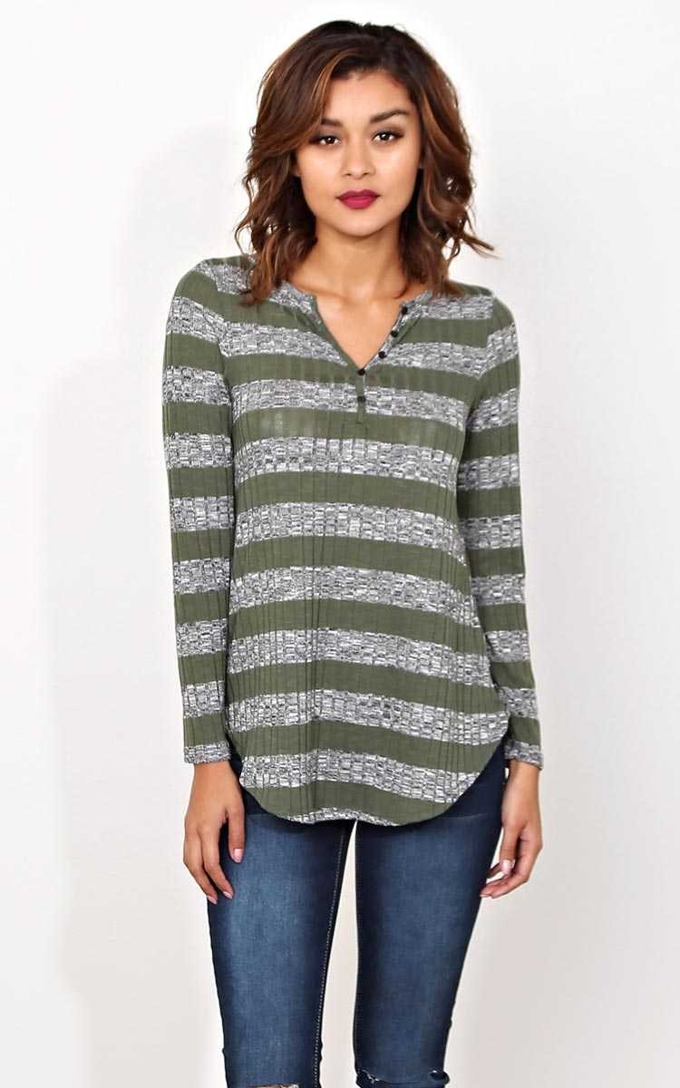 Down To Earth Knit Top - LGE - Olive Combo in Size Large by Styles For Less