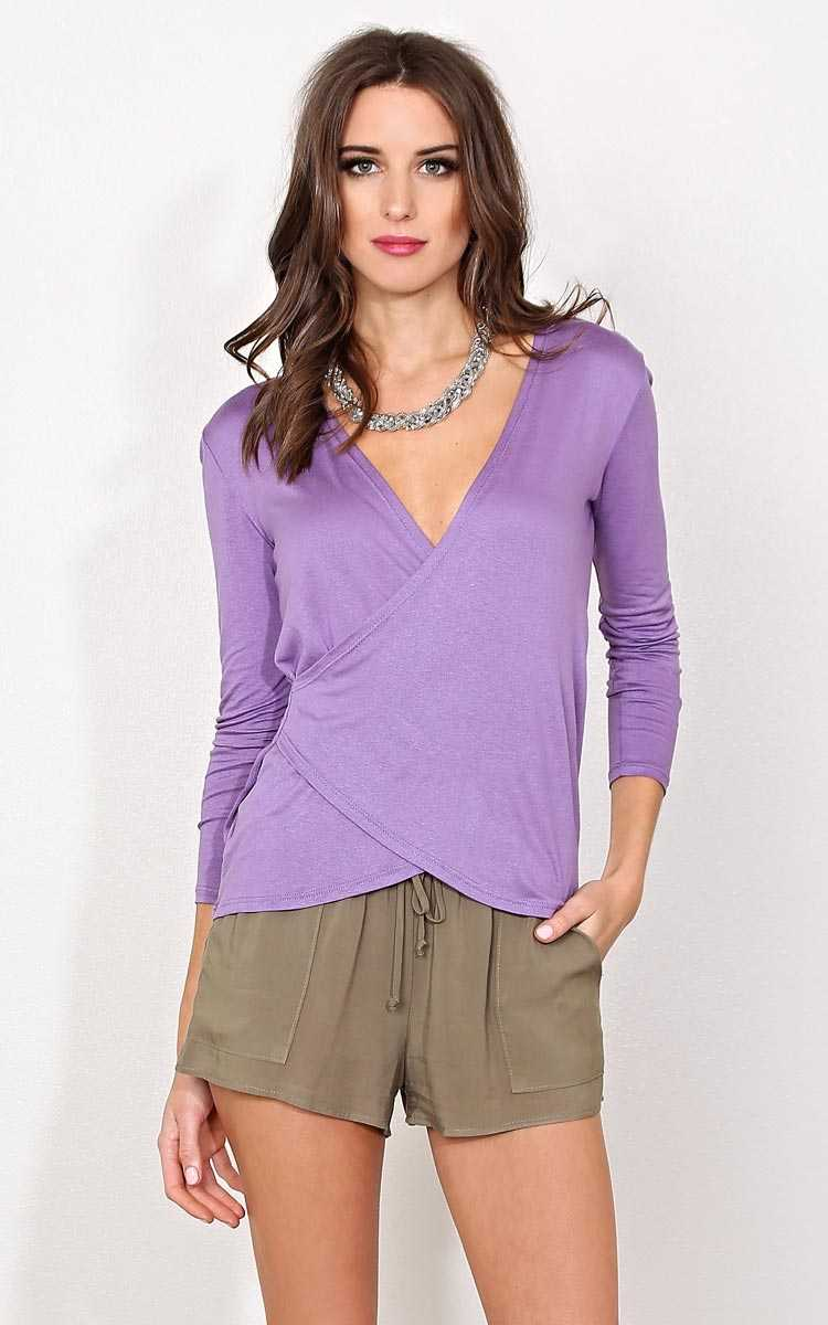 Lilac Dreams Surplice Knit Top - LGE - Dusty Plum in Size Large by Styles For Less