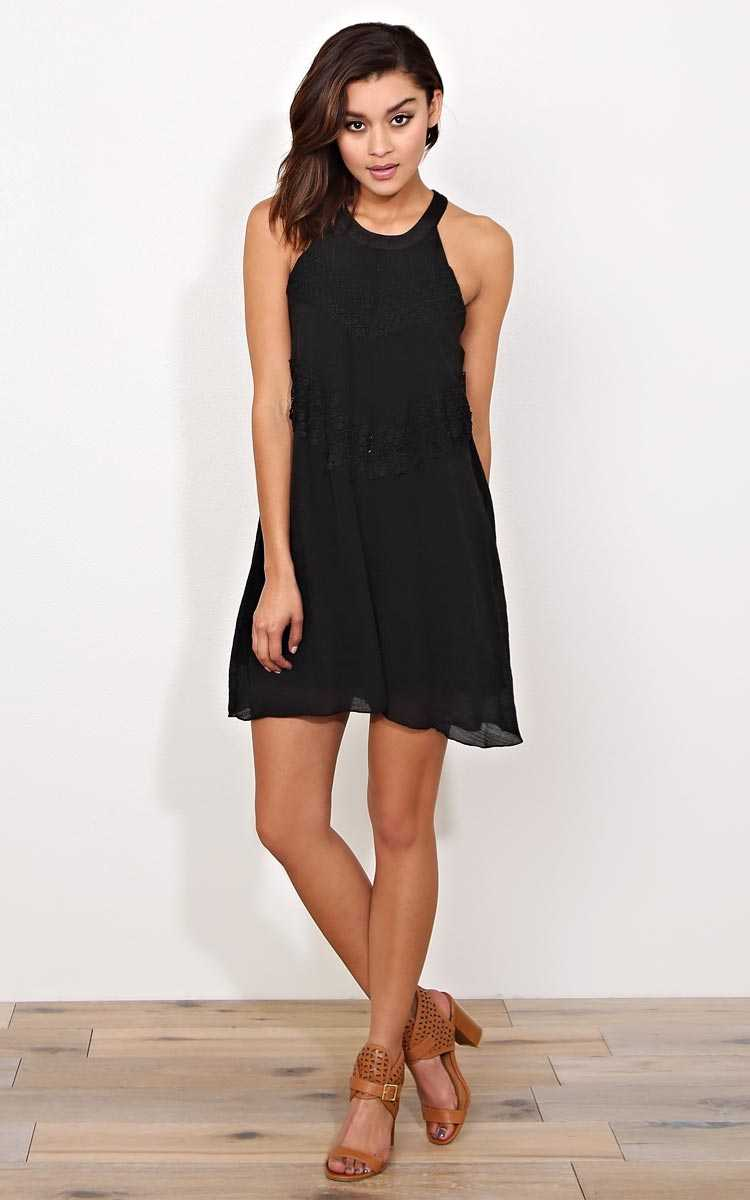 Lizzie Crochet Sun Dress - MED - Black in Size Medium by Styles For Less