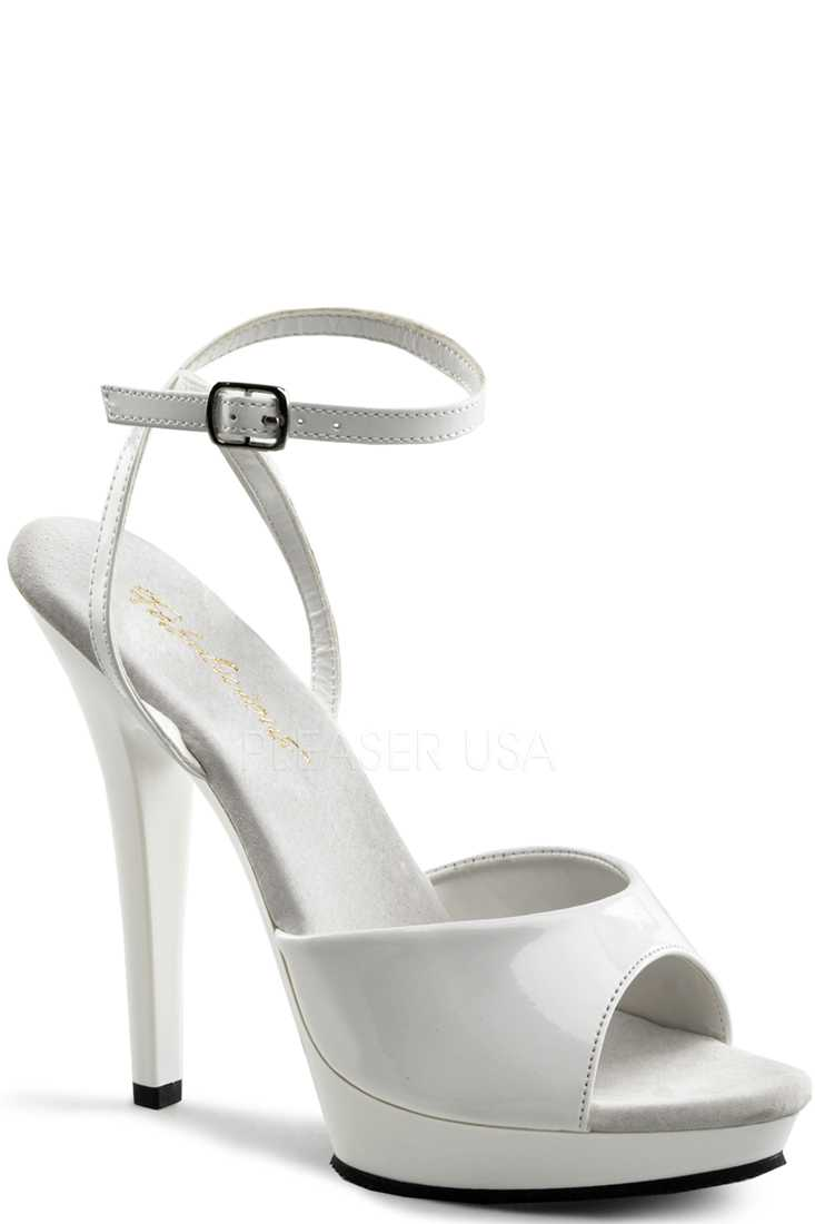 White Peep Toe Ankle Strap High Heels Patent