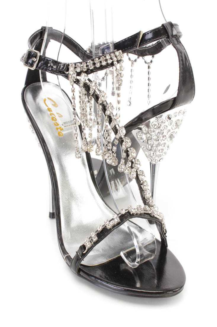 Black Rhinestone Dangle Strappy High Heels Faux Leather