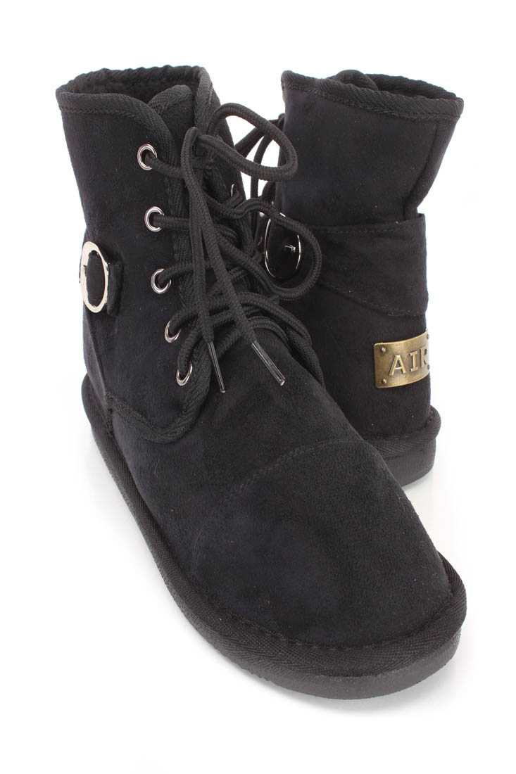 Black Lace Up Comfy Ankle Booties Faux Suede