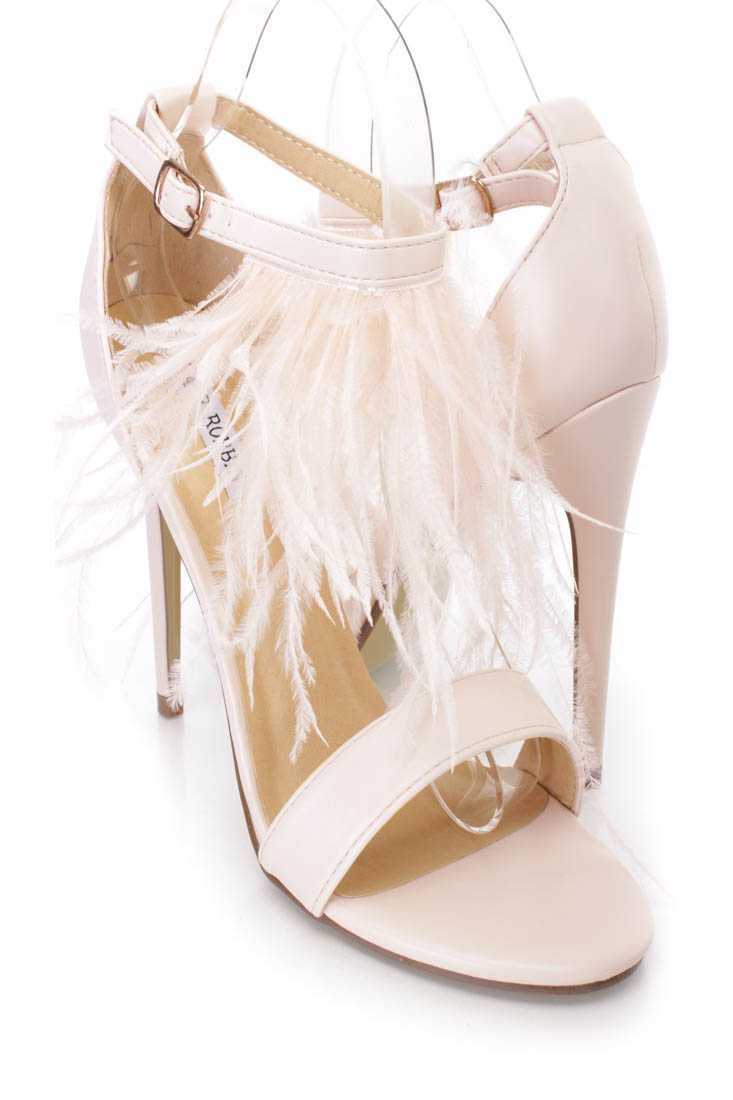 Nude Marabou Feather Single Sole Heels Faux Leather