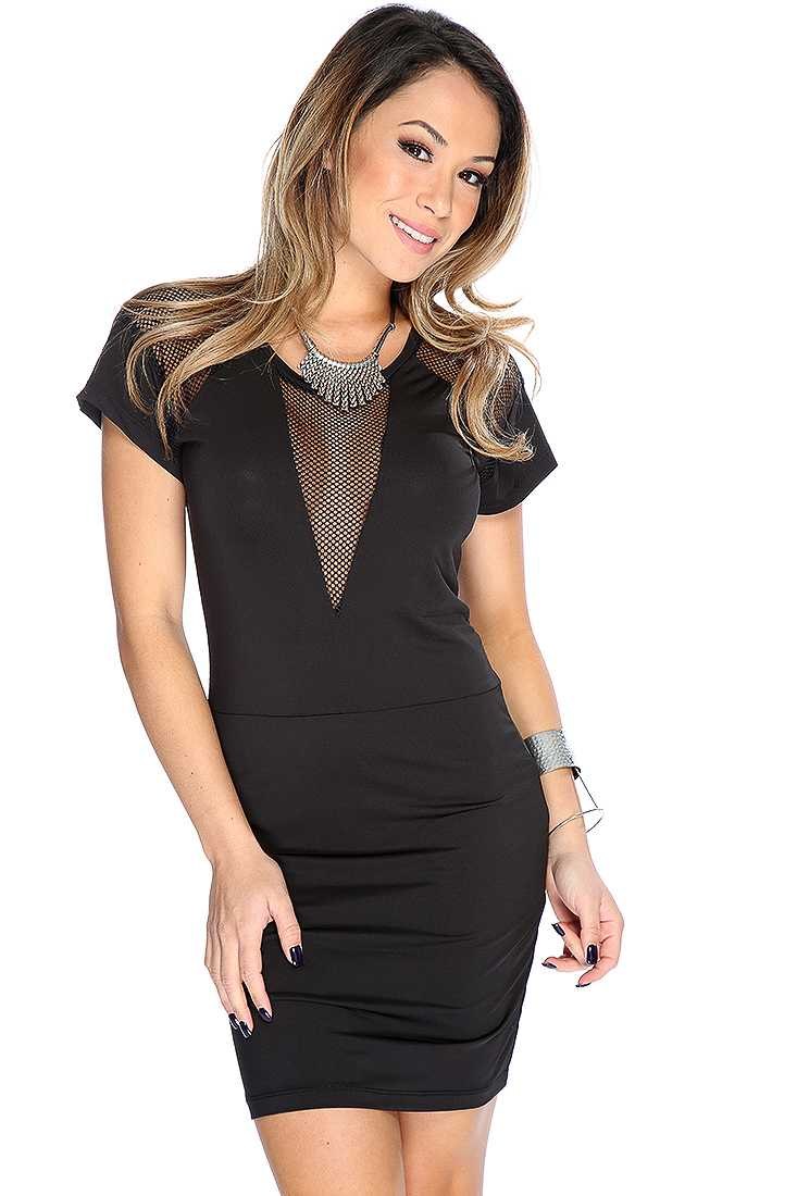 Black Short Sleeves Netted Sexy LBD