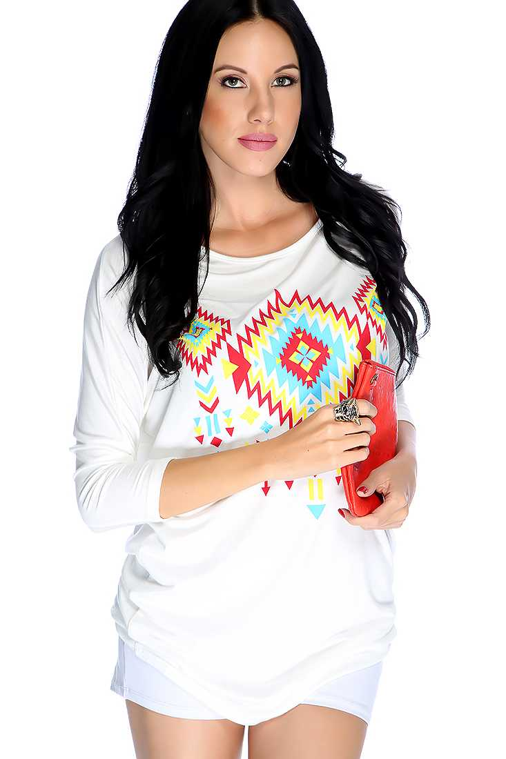 Casual White Tribal Graphic Print Top