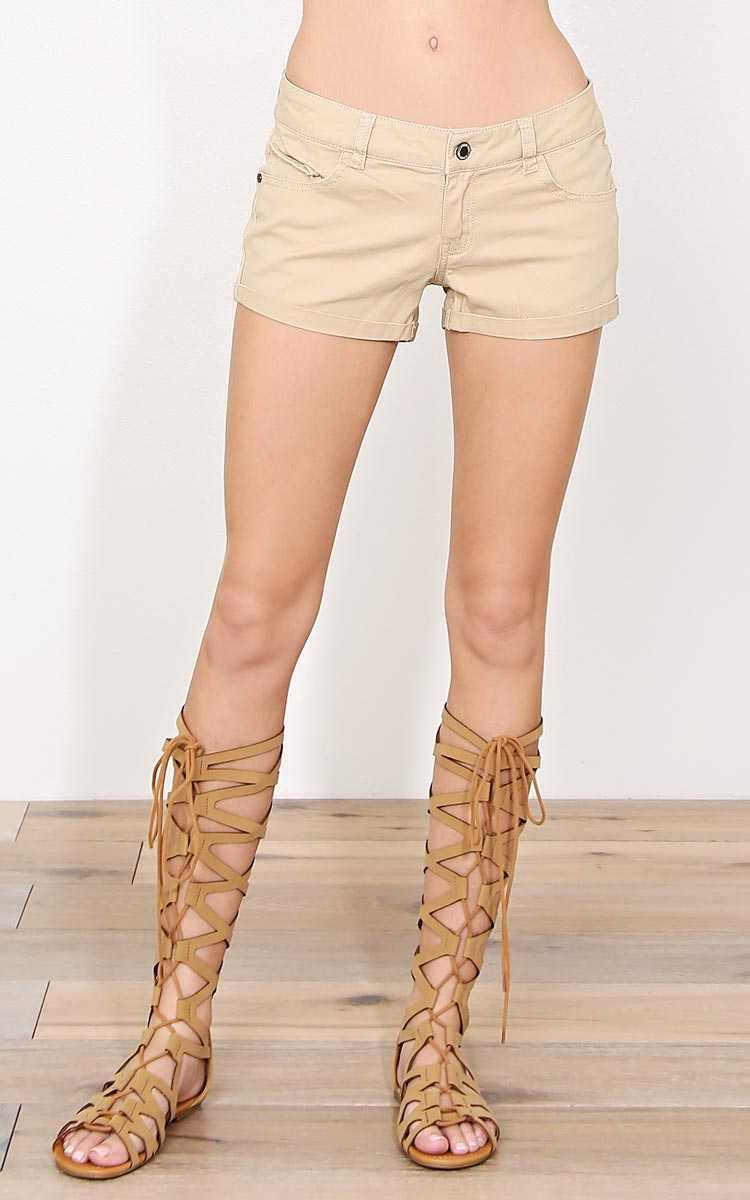 Riya Khaki Denim Shorts - Khaki in Size by Styles For Less