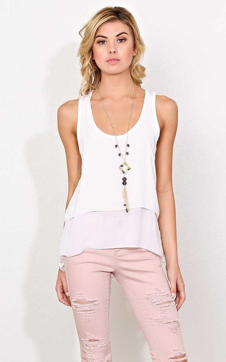 Karlie Woven Necklace Top - - White in Size by Styles For Less