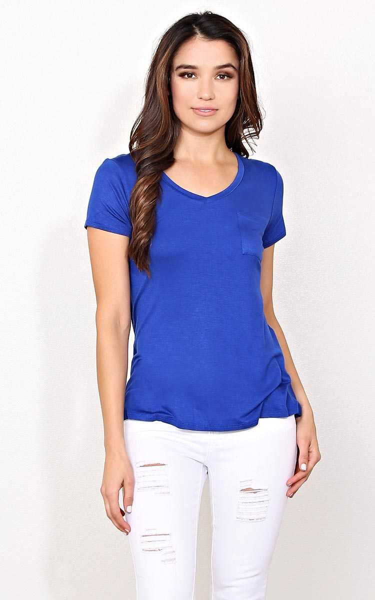 Royal Blue Knit Pocket Tee - - Blue in Size by Styles For Less