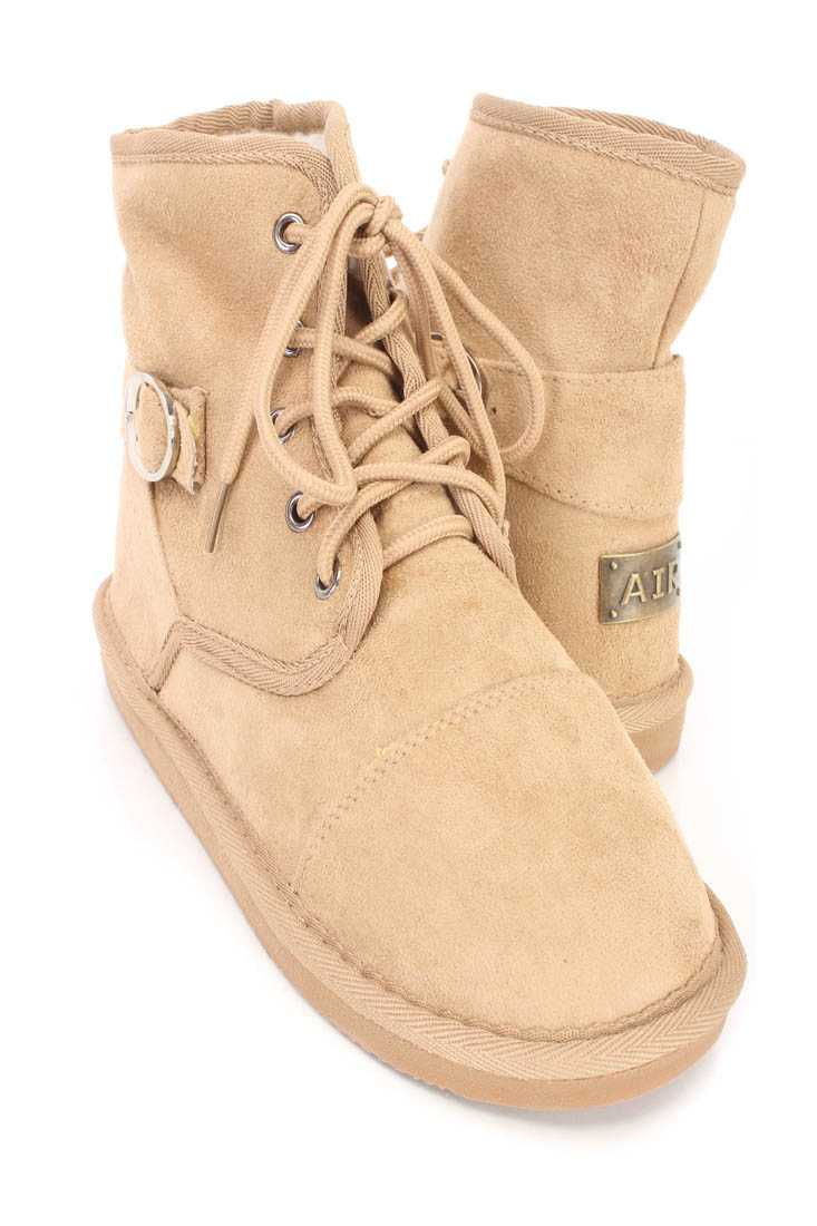 Camel Lace Up Comfy Ankle Booties Faux Suede