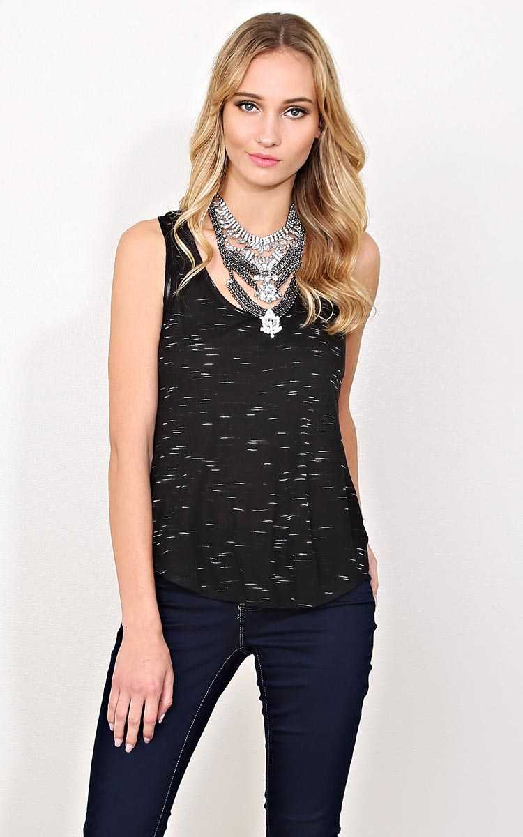 Space Dye Knit Tank - MED - Black in Size Medium by Styles For Less