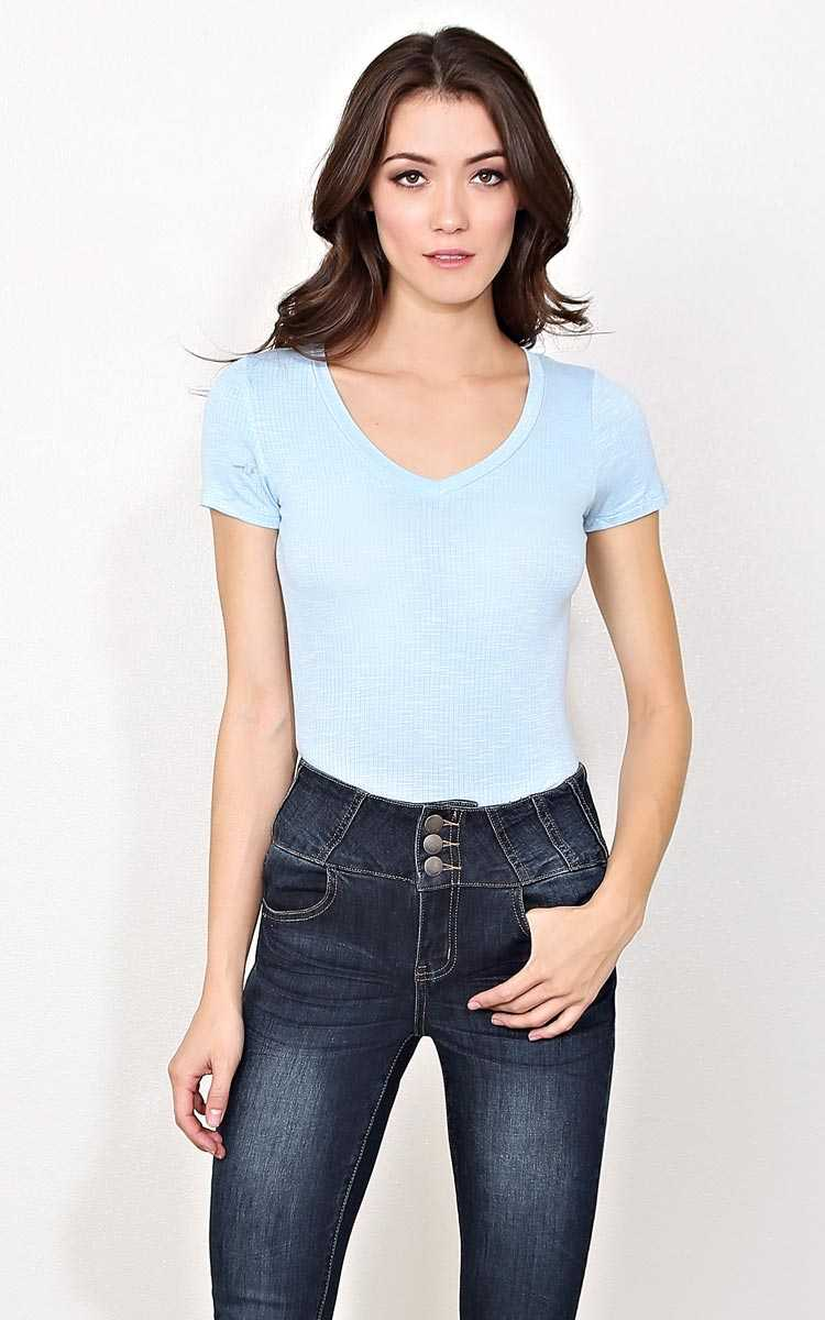 Chill Daze Rib Knit Top - - Lt Blue in Size by Styles For Less