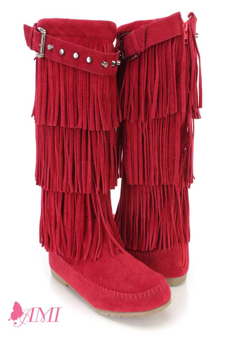 Red Fringe Tiered Moccasin Boots Faux Suede