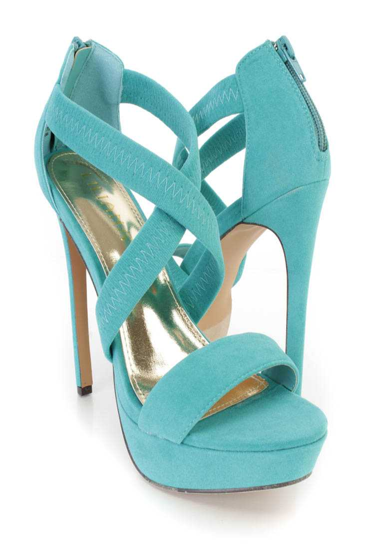 Seagreen Cross Strappy Platform High Heels Faux Suede