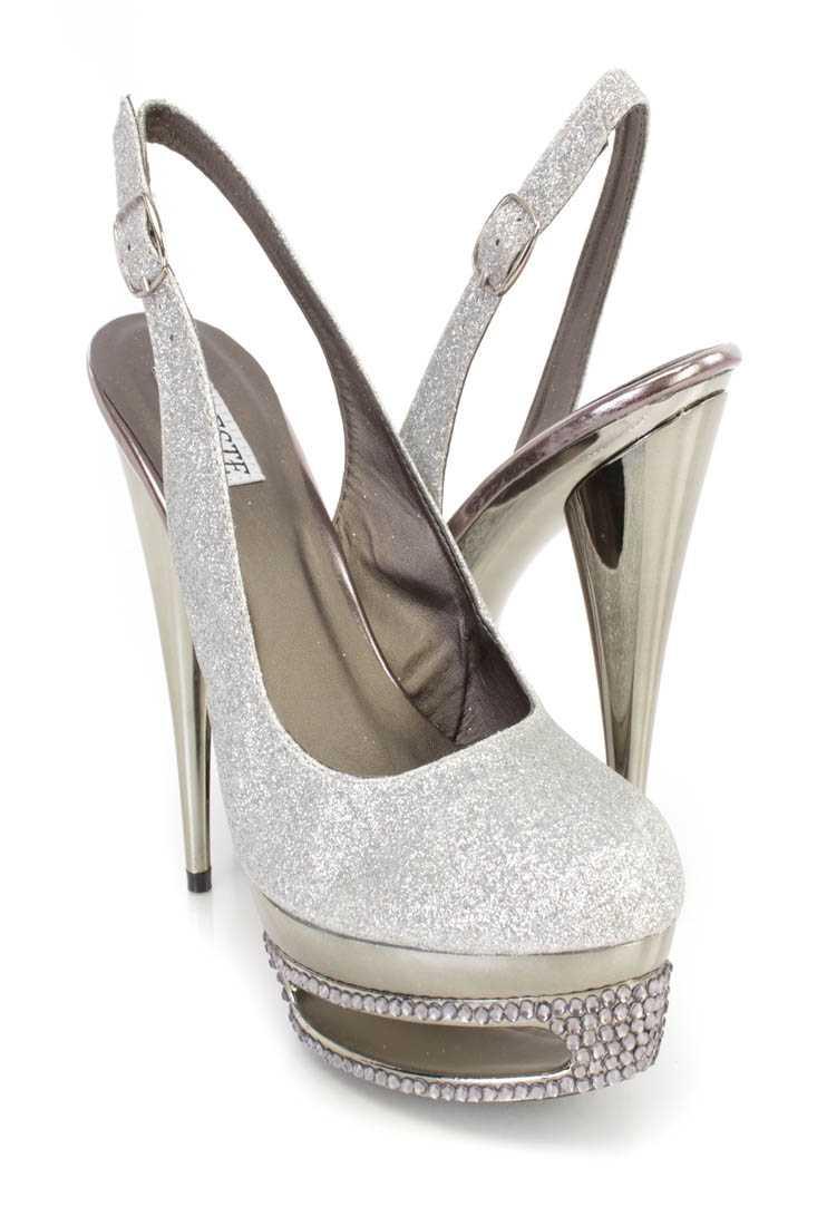 Silver Rhinestone Slingback Platform 6 Inch High Heels Glitter