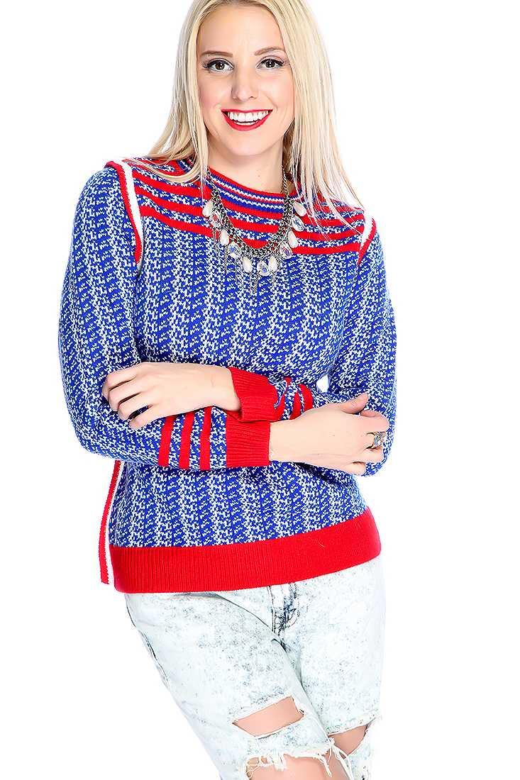Royal Blue White Long Sleeve Round Neck Sweater