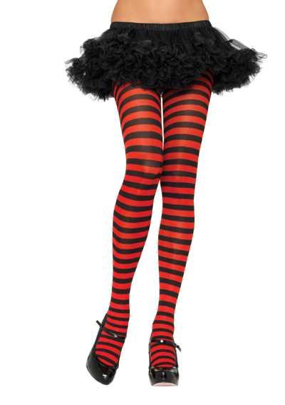 Black Red Stripe Tights Hosiery