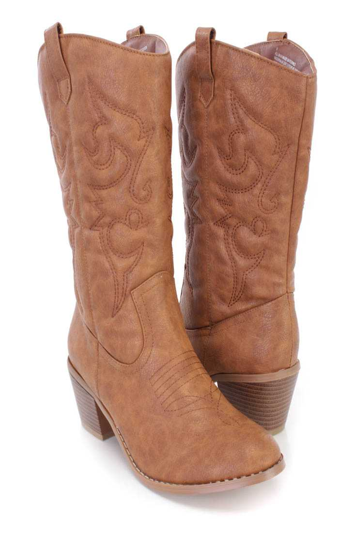 Tan Stitched Cowboy Style Boots Faux Leather