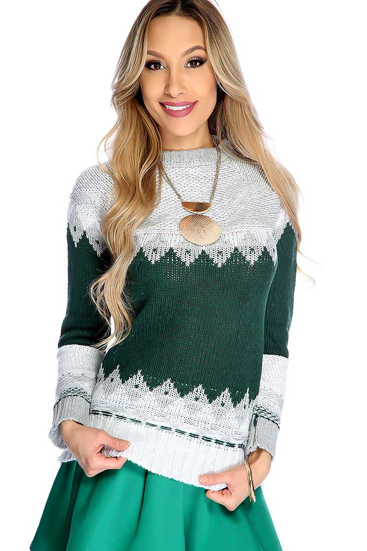 Forest Green Long Sleeve Two Tone Causal Sweater Top
