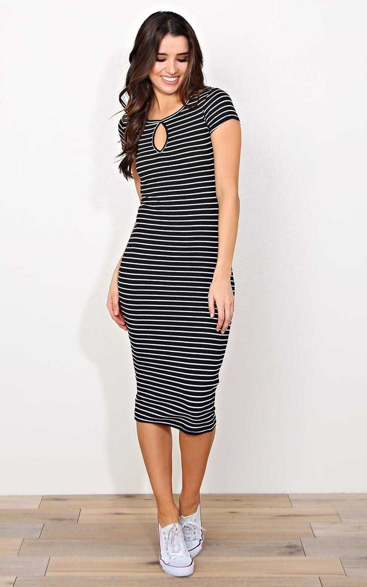 Sweet Resistance Rib Knit Midi Dress - MED - Black/White in Size Medium by Styles For Less