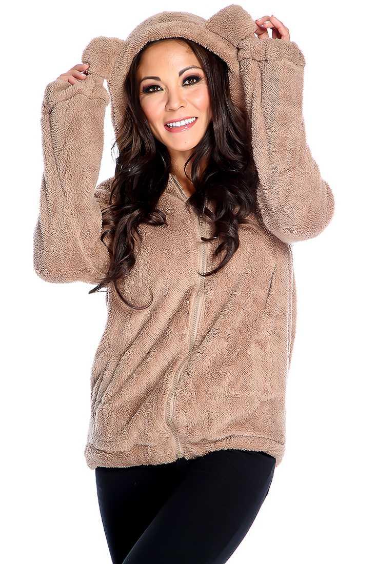 Warm Tan Long Sleeve Animal Ears Plush Sweater