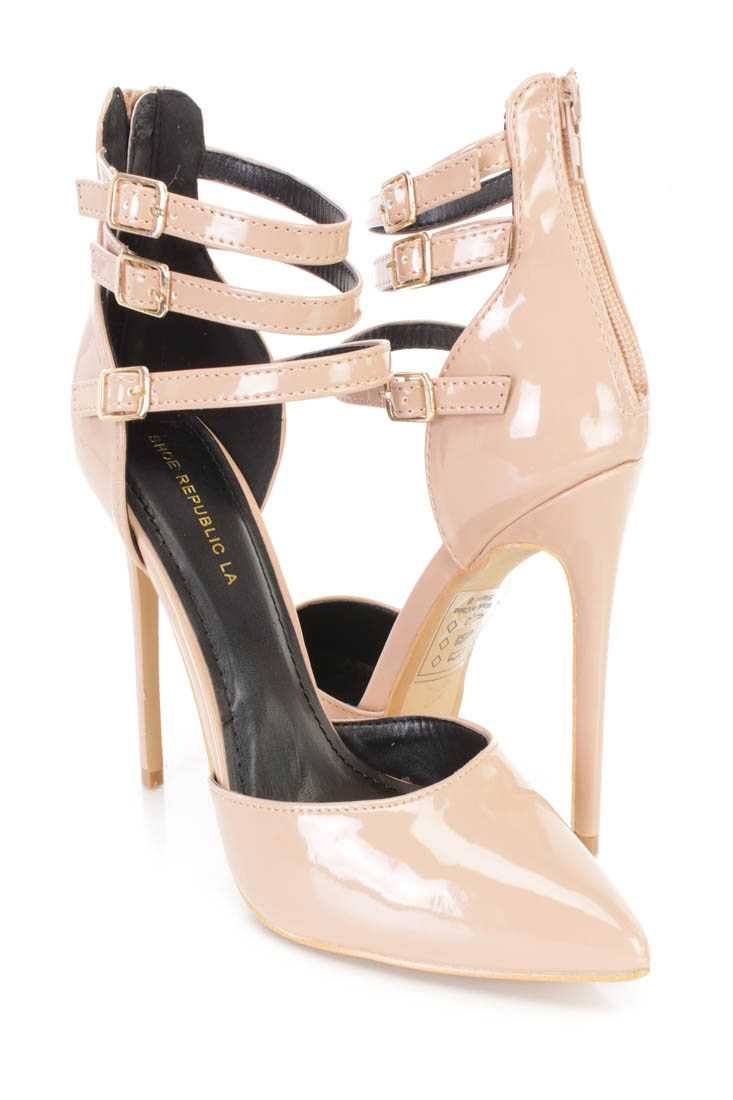 Taupe Pointy Toe Strappy Single Sole Stiletto Heels Patent
