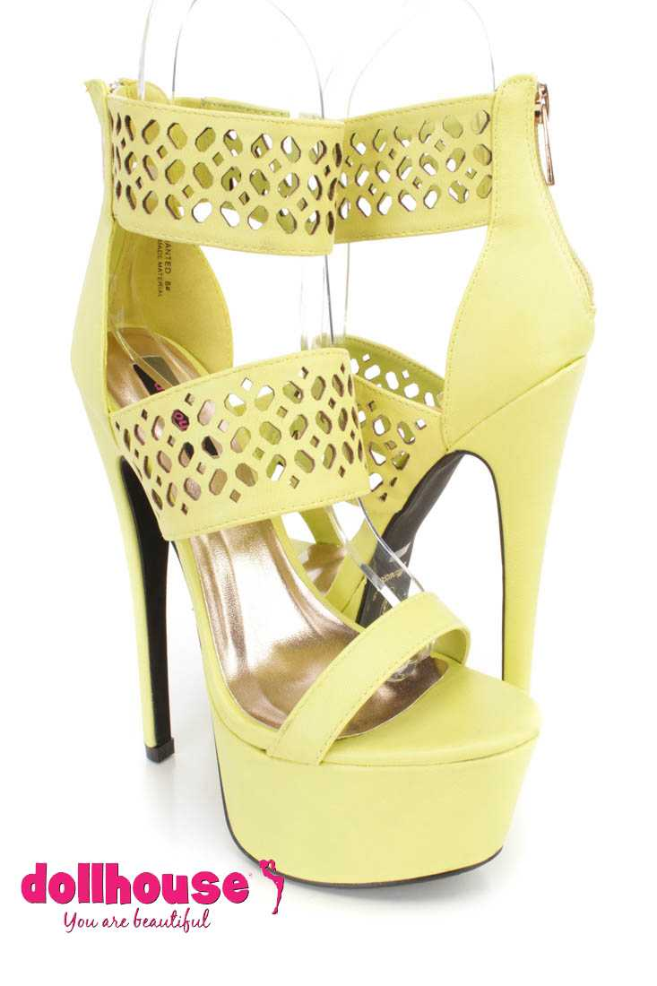 Lime Perforated Strappy Platform 6 Inch High Heels Faux Leather