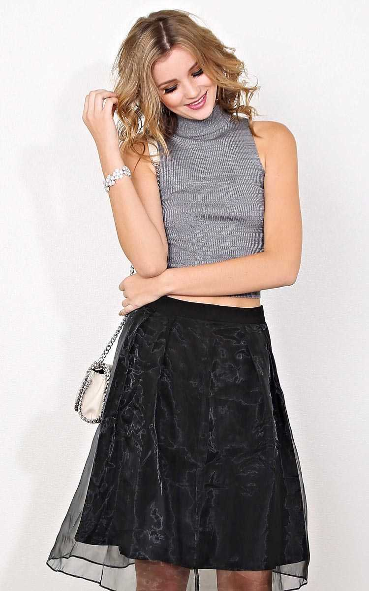 Anisa Marled Rib Knit Tank - - Charcoal Combo in Size by Styles For Less