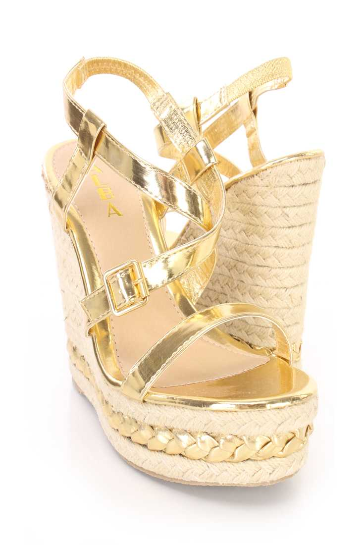 Gold Cross Strappy Espadrille Platform Wedges Faux Leather