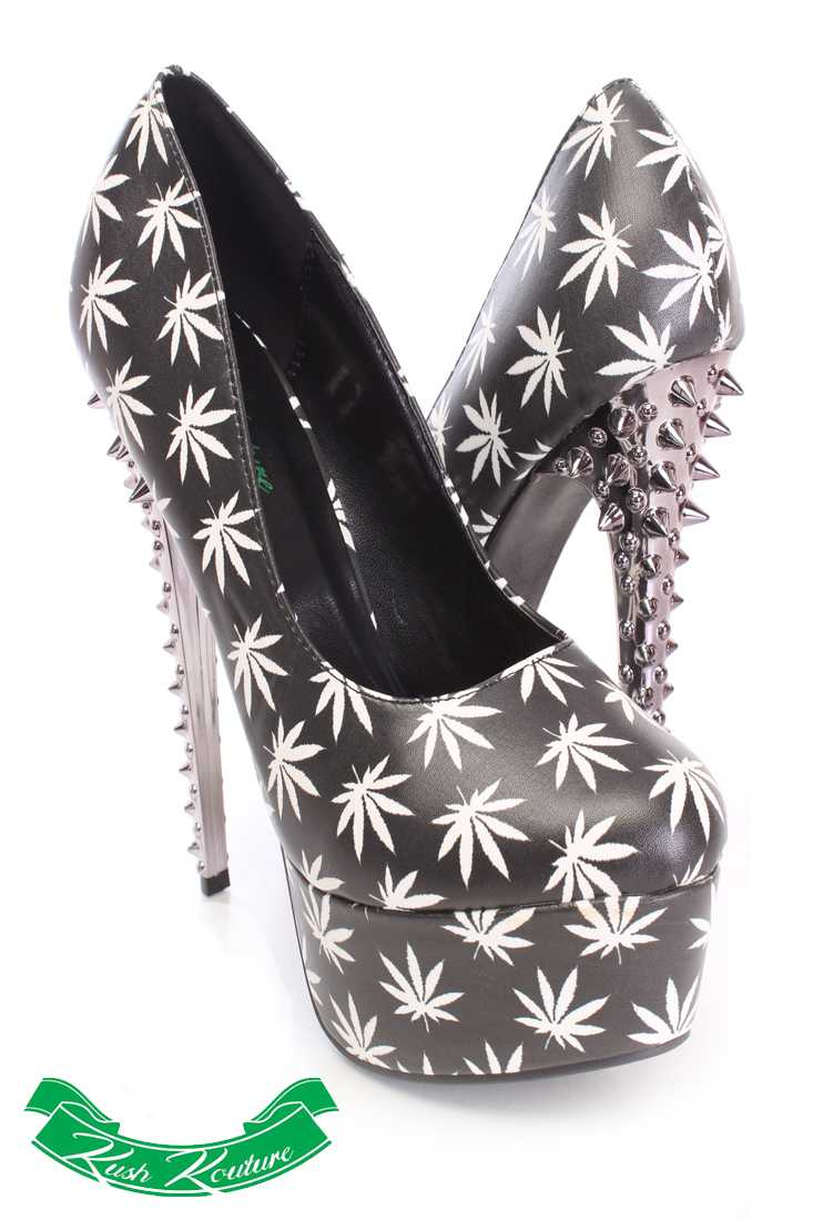 Black White Herbal Leaf Pump High Heels Faux Leather
