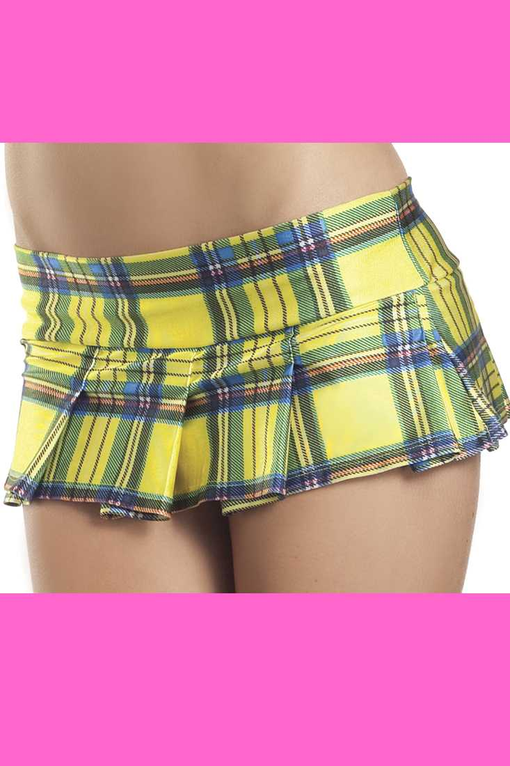 Yellow Plaid Pleated Mini Schoolgirl Skirt