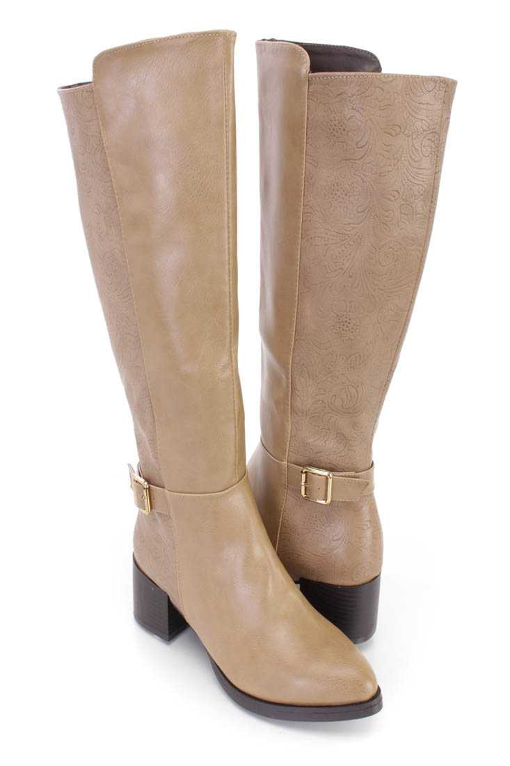 Taupe Paisley Embossed Riding Boots Faux Leather
