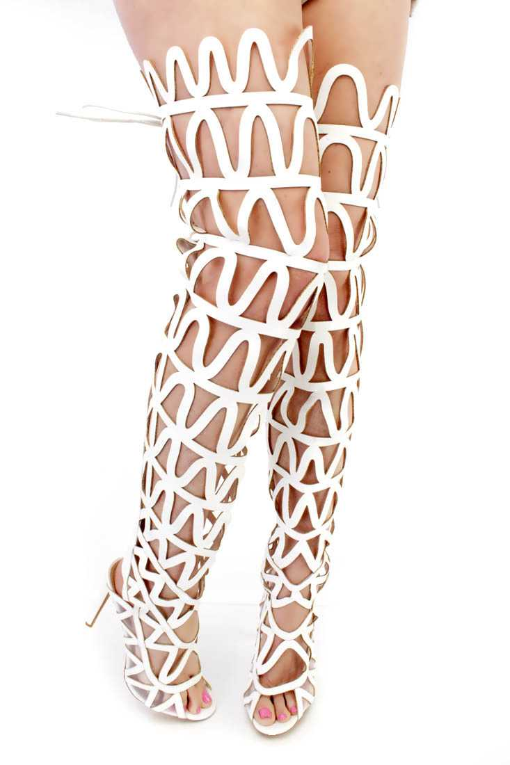 White Cut Out Design Gladiator High Heels Faux Leather