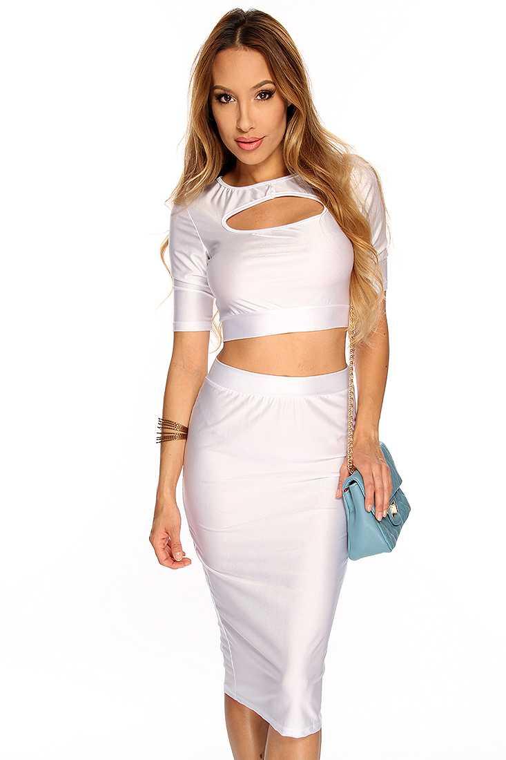 White Short Sleeves Bodycon Midi 2 Piece Dress