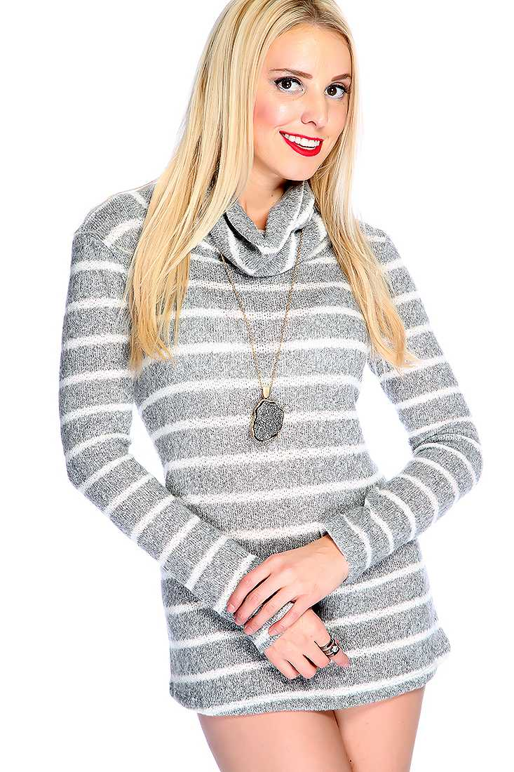 Grey White Long Sleeves Cowl Neckline Two Tone Strappy Sweater