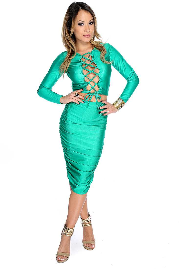 Sexy Green Lace Up 2 Piece Midi Party Dress