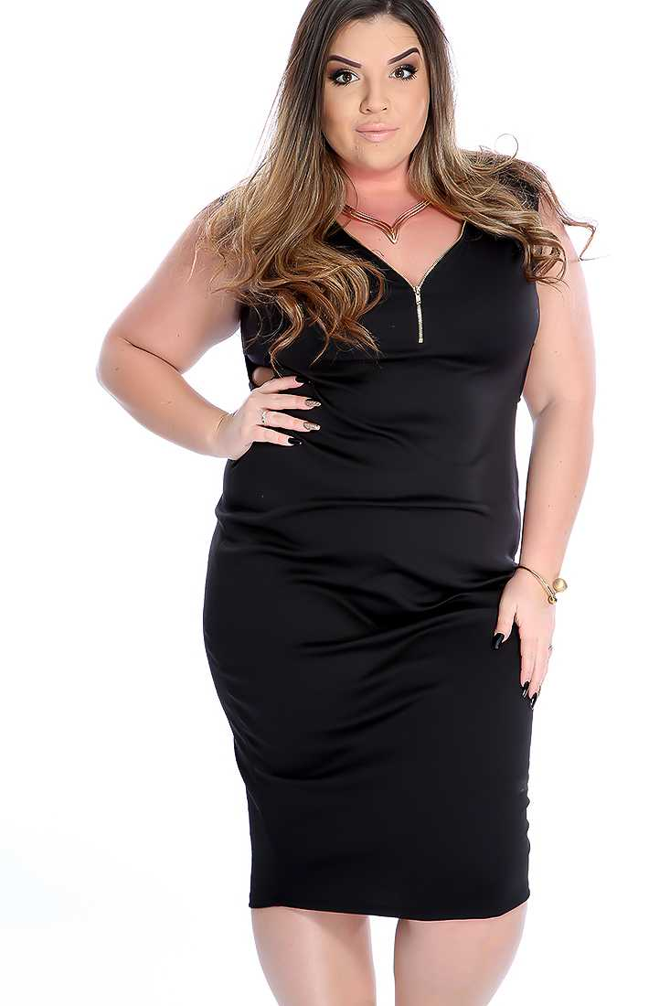 Black Zipper Accent Sleeveless Plus Size Party Dress