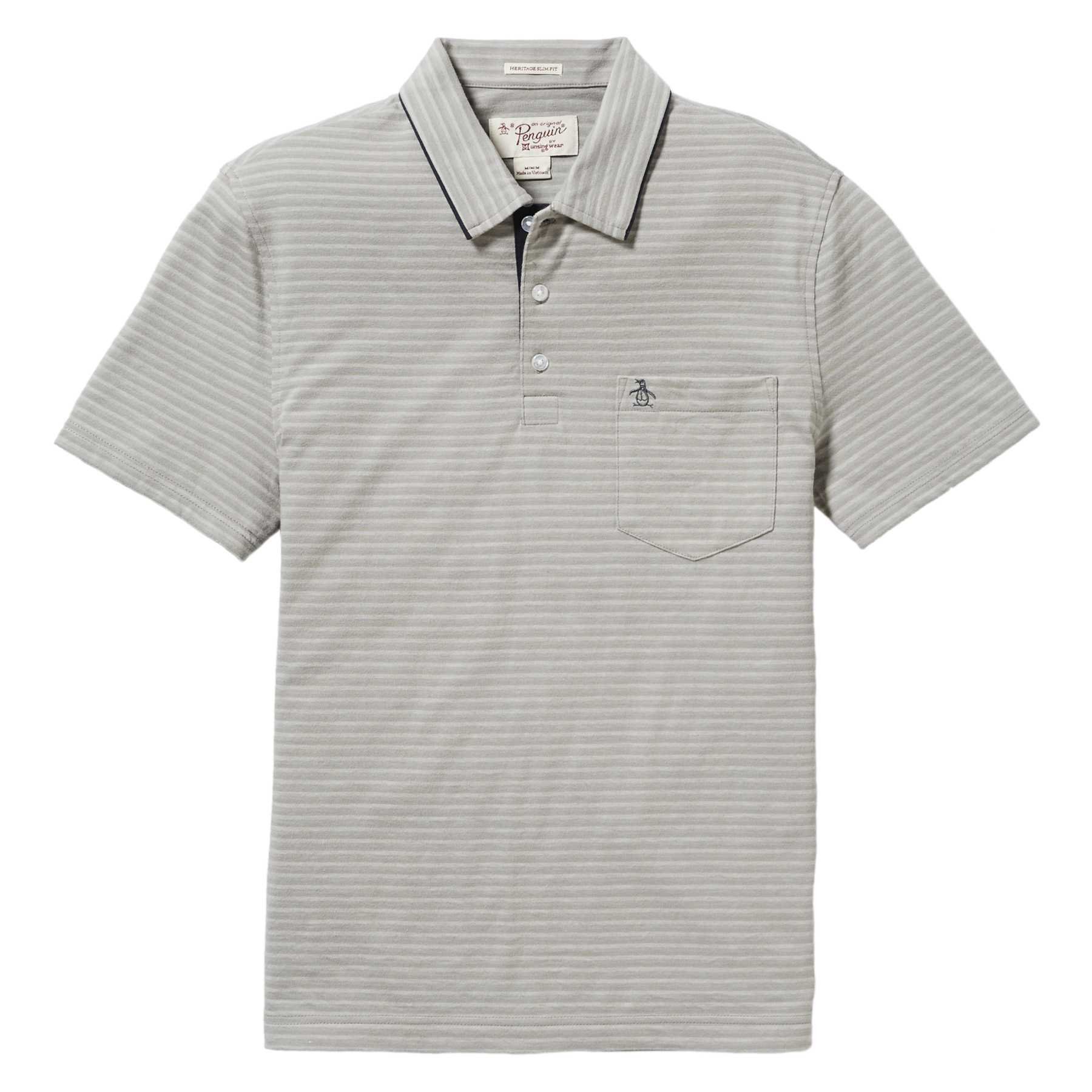 Original Penguin HEATHERED STRIPE MEARL POLO