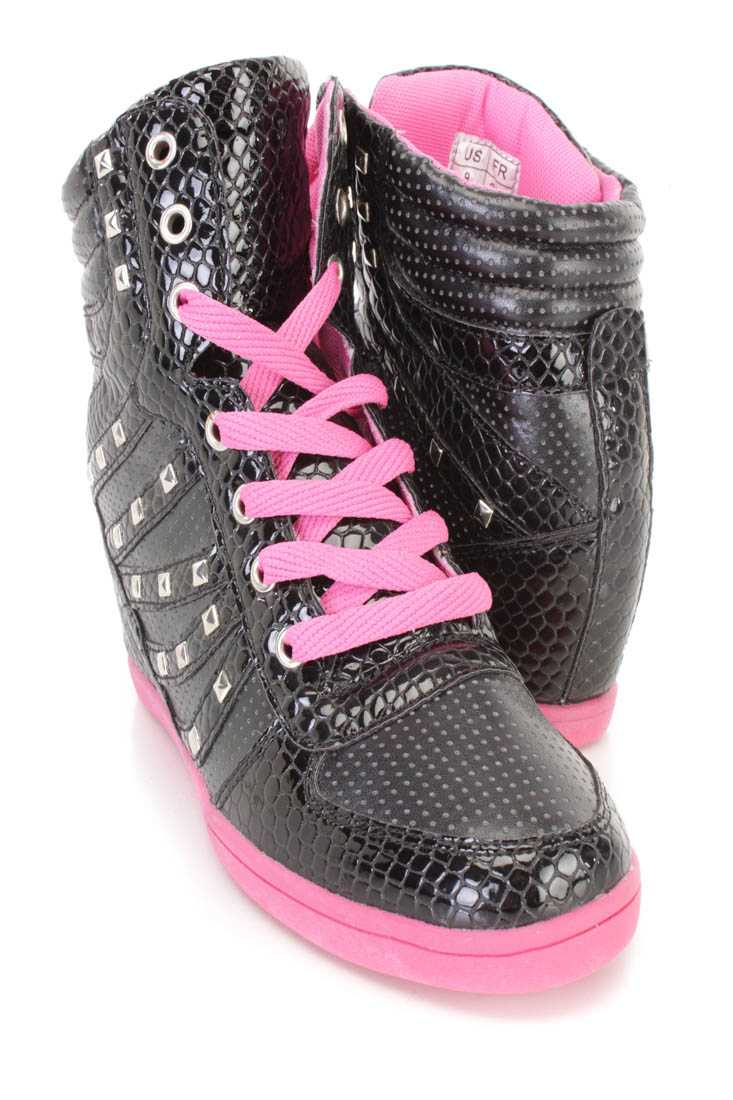Black Lace Up Studded Sneaker Wedges Faux Leather