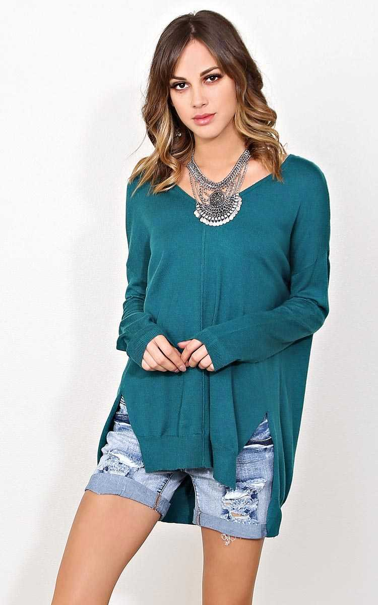 Cool and Calm Sweater Knit Top - - Jade in Size by Styles For Less