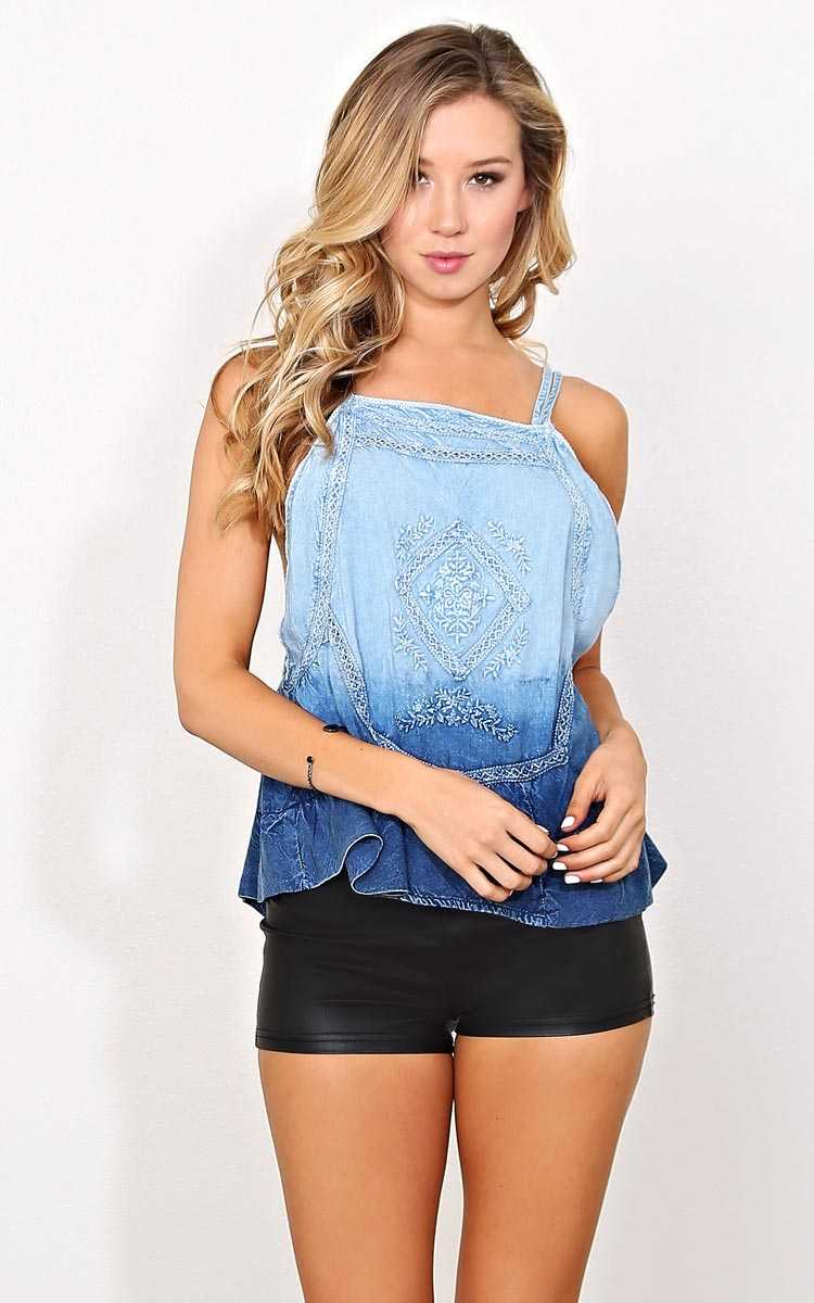 Fiera Embroidery Ombre Top - - Blue in Size by Styles For Less