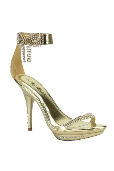 Gold Metallic Faux Leather Rhinestone High Heels