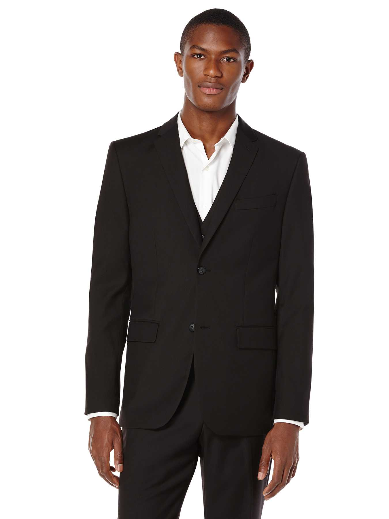 Perry Ellis Regular Fit Sharkskin Solid Suit Jacket
