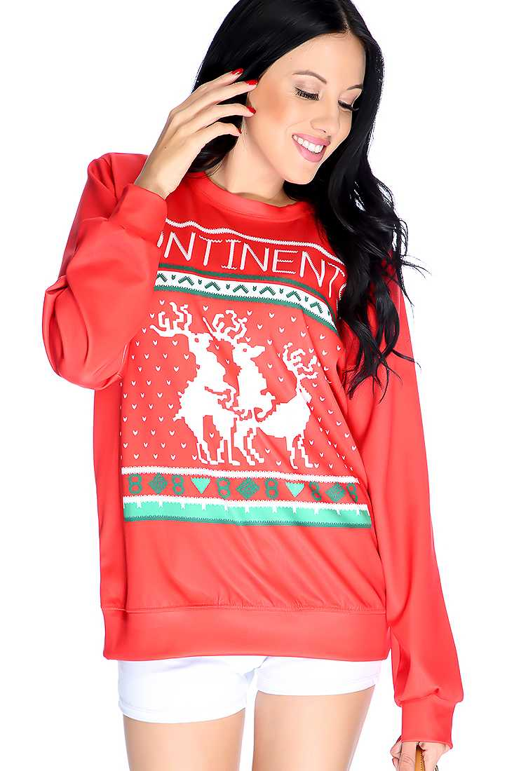 Red Graphic Design Pull Over Sweater